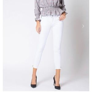 KANCAN Midrise White ZIP Ankle Jeans